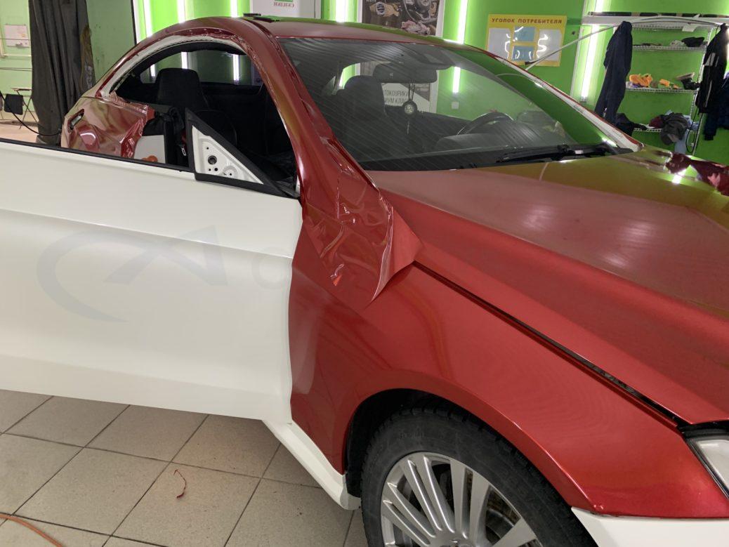 Полная оклейка кузова в перламутровый винил  Мерседес Е 212 купе