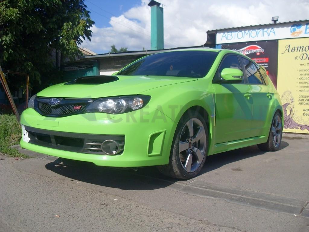 Зеленый глянец HEXIS и тонировка оптики Subaru Impreza VRX STI