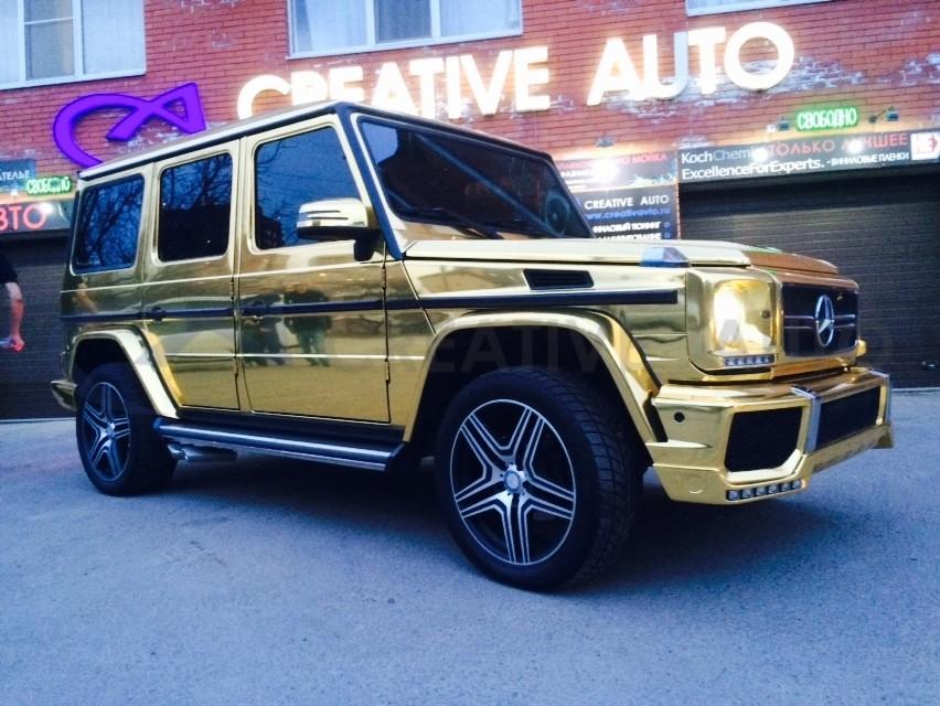 Золотой хром Mercedes G-class. Изображение 45