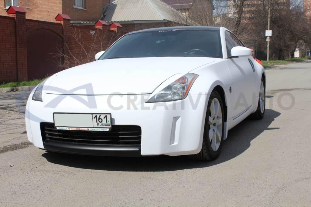 Белый мат, черный глянец, черный хром Nissan 350Z. Изображение 12